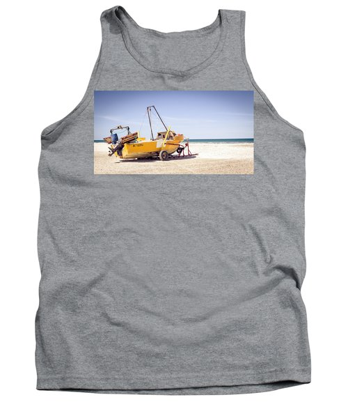 Tank Top featuring the photograph Boat And The Beach by Silvia Bruno