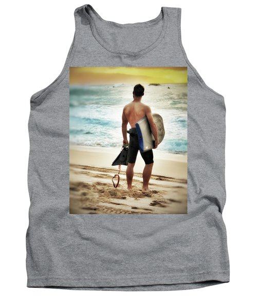 Tank Top featuring the photograph Boggie Boarder At Waimea Bay by Jim Albritton