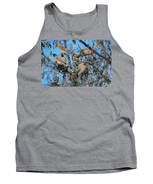 Tank Top featuring the photograph Bohemian Waxwings by Kathy Bassett