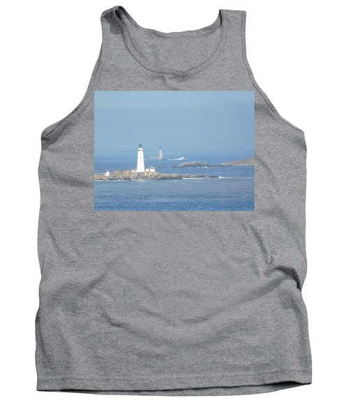 Boston Harbor Lighthouses Tank Top by Catherine Gagne