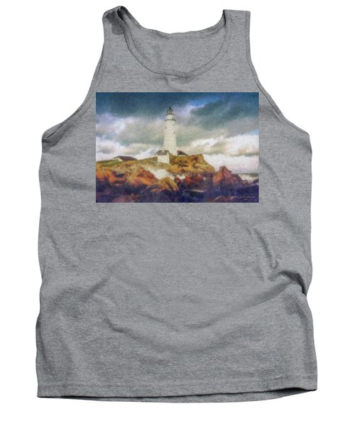 Boston Light On A Stormy Day Tank Top