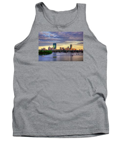Boston Skyline Sunset Over Back Bay Tank Top