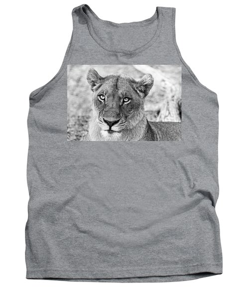 Botswana  Lioness In Black And White Tank Top