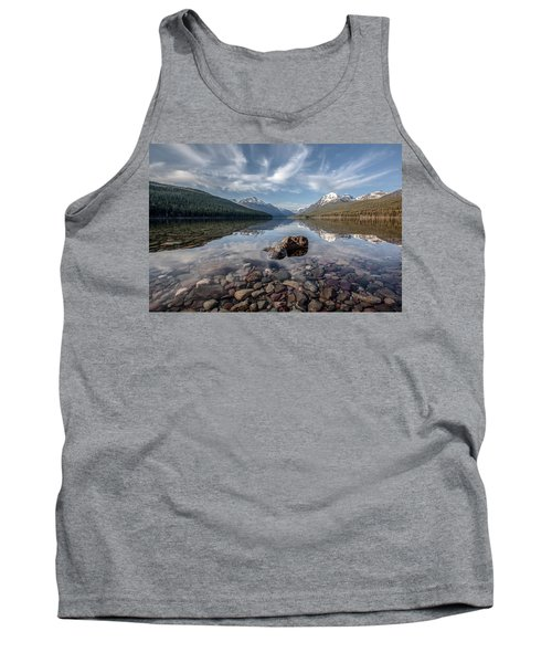 Tank Top featuring the photograph Bowman Lake Rocks by Aaron Aldrich