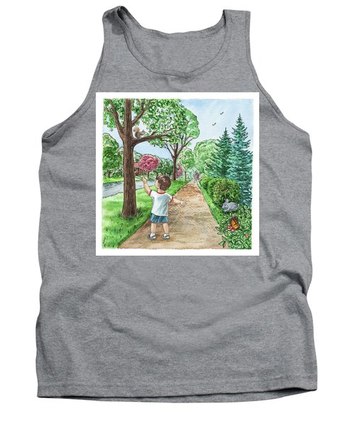 Boy Squirrel Bunny And Butterfly Tank Top