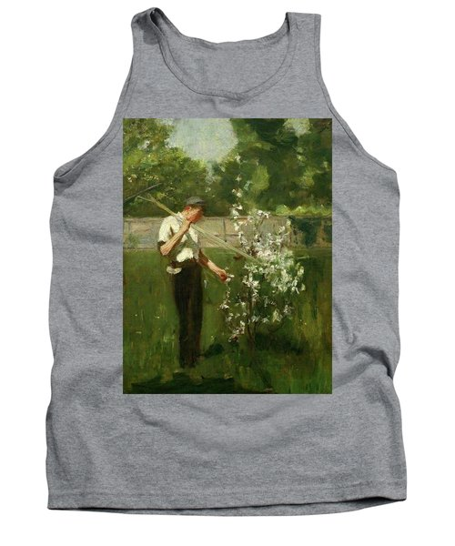 Tank Top featuring the painting Boy With A Grass Rake by Henry Scott Tuke