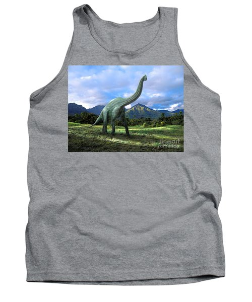 Tank Top featuring the mixed media Brachiosaurus In Meadow by Frank Wilson