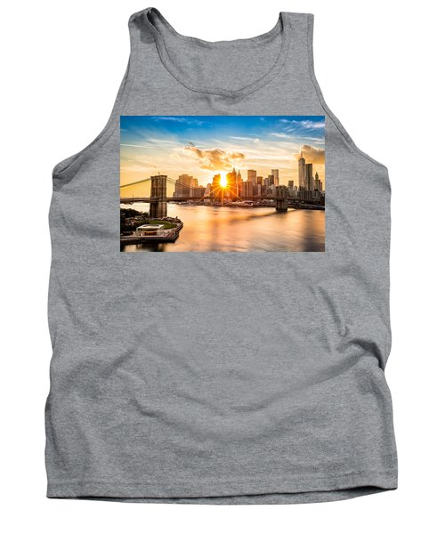 Brooklyn Bridge And The Lower Manhattan Skyline At Sunset Tank Top