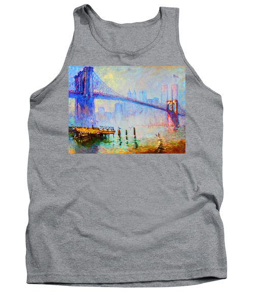 Brooklyn Bridge In A Foggy Morning Tank Top by Ylli Haruni