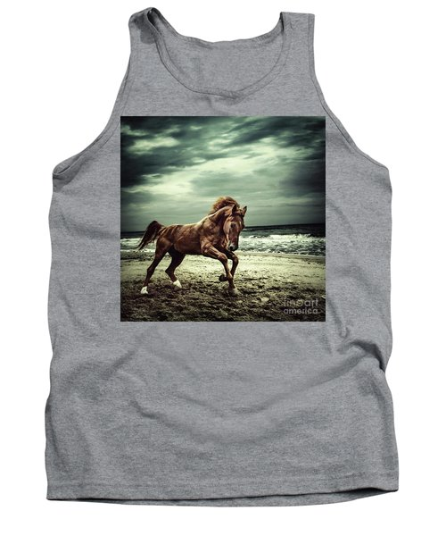 Brown Horse Galloping On The Coastline Tank Top