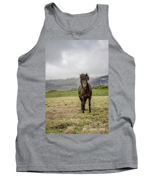 Tank Top featuring the photograph Brown Icelandic Horse by Edward Fielding