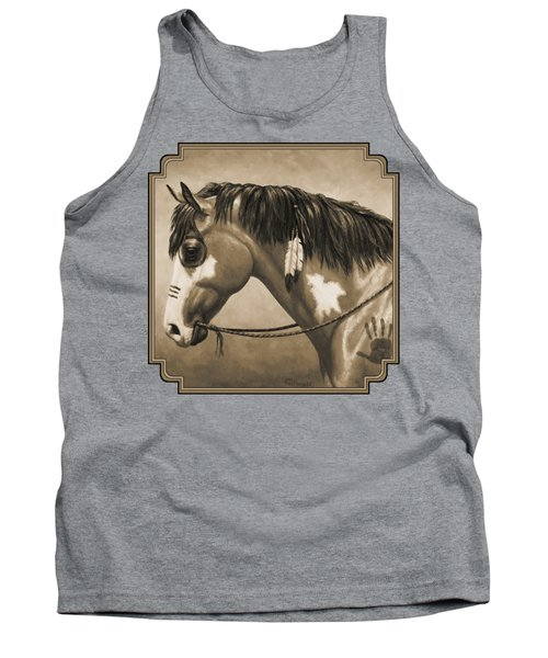 Buckskin War Horse In Sepia Tank Top by Crista Forest