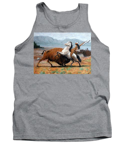 Tank Top featuring the painting Buffalo Hunt by Tom Roderick