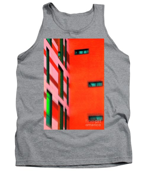 Tank Top featuring the digital art Building Block - Red by Wendy Wilton