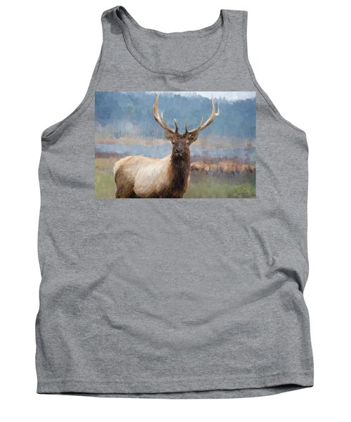 Bull Elk By The River Tank Top