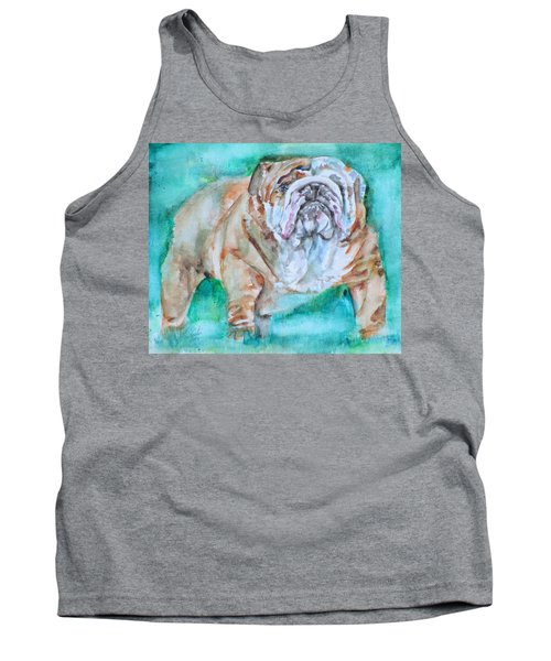 Tank Top featuring the painting Bulldog - Watercolor Portrait.6 by Fabrizio Cassetta