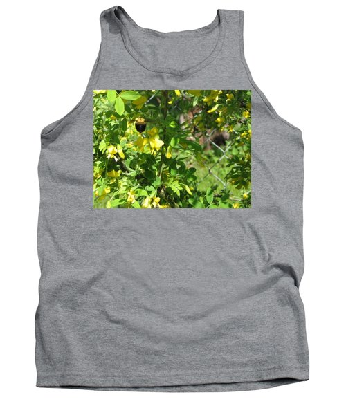 Bumblebee In Flight In Yellow Flowers Tank Top by Barbara Yearty