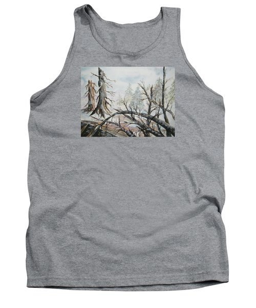 Tank Top featuring the painting Burned Forest In The Snow by Ellen Levinson
