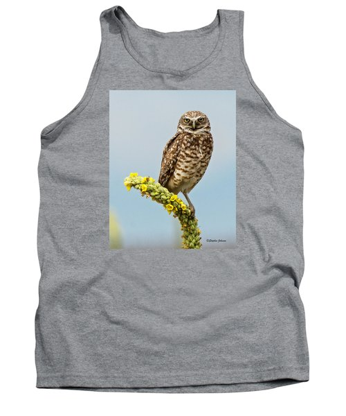 Burrowing Owl On Mullein Plant Tank Top