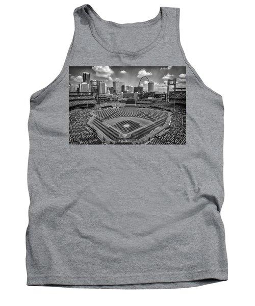 Busch Stadium St. Louis Cardinals Black White Ballpark Village Tank Top by David Haskett