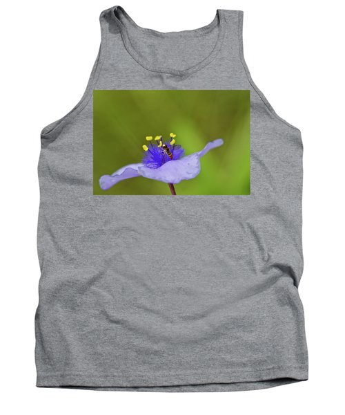 Busy Visitor - Syrphid Fly On Spiderwort Tank Top by Jane Eleanor Nicholas