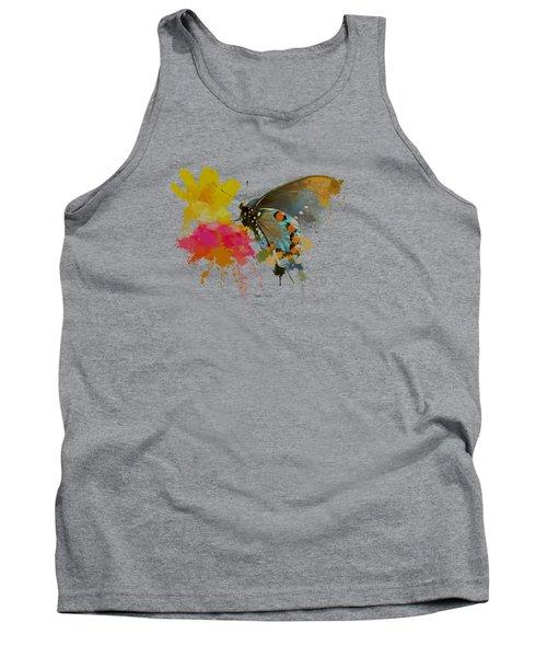 Butterfly On Lantana - Splatter Paint Tee Shirt Design Tank Top by Debbie Portwood