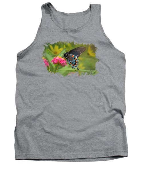 Butterfly On Lantana - Tee Shirt Design Tank Top by Debbie Portwood