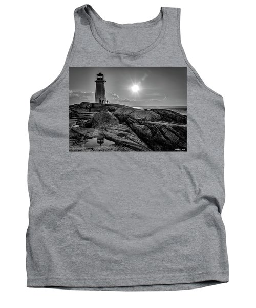Bw Of Iconic Lighthouse At Peggys Cove  Tank Top by Ken Morris