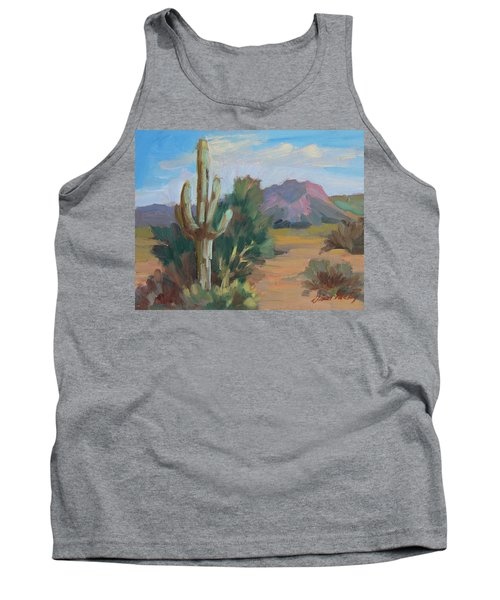 Tank Top featuring the painting Cactus By The Red Mountains by Diane McClary