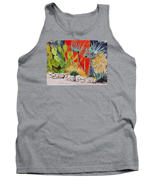 Cactus Garden  Tank Top by Fred Jinkins