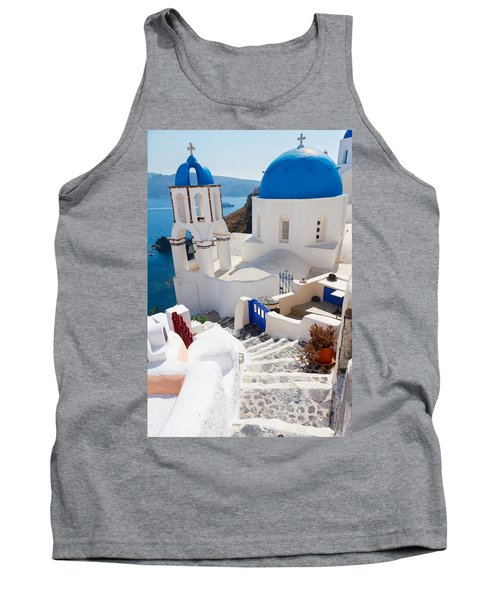Caldera With Stairs And Church At Santorini Tank Top by Anastasy Yarmolovich