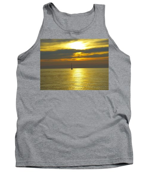 Calm Before Sunset Over Lake Erie Tank Top by Donald C Morgan