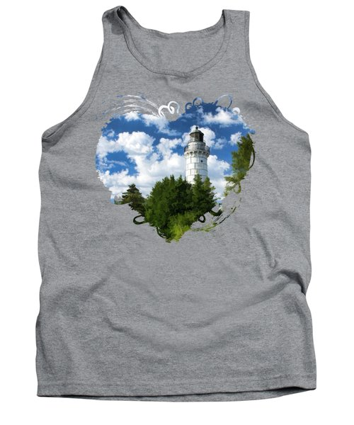 Cana Island Lighthouse Cloudscape In Door County Tank Top