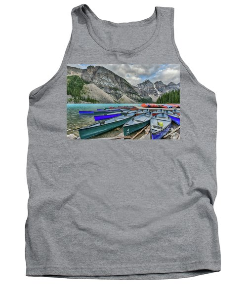 Canoes On Moraine Lake  Tank Top