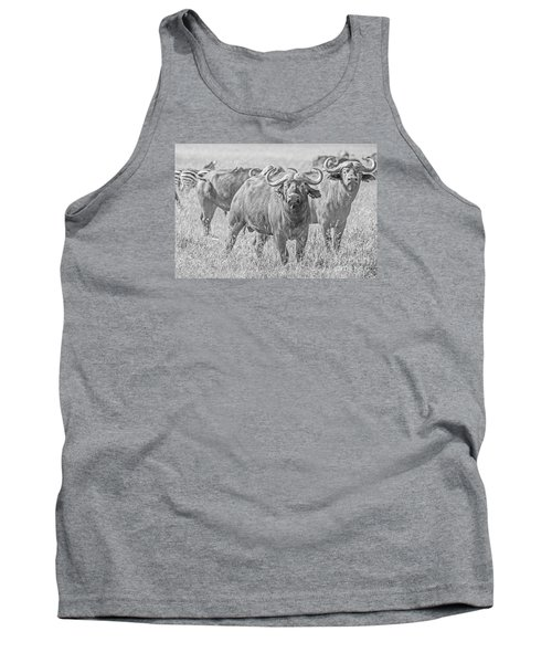 Cape Buffalos In Serengeti Tank Top by Pravine Chester