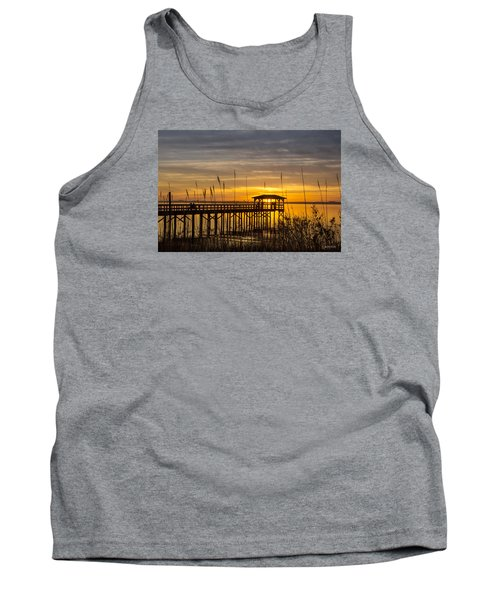 Cape Fear Sunset Fort Fisher Tank Top by Phil Mancuso
