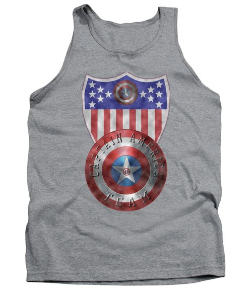 Captain America Shields On Gold  Tank Top