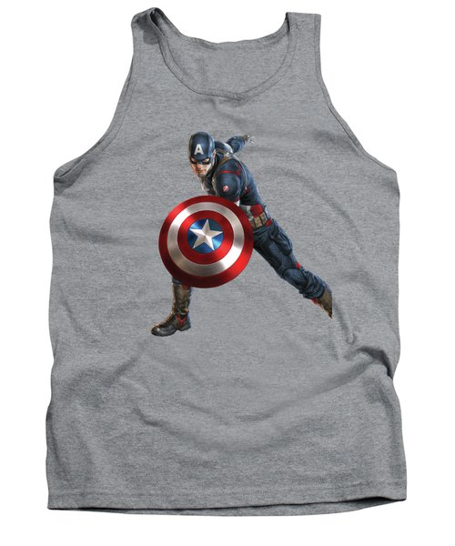 Tank Top featuring the mixed media Captain America Splash Super Hero Series by Movie Poster Prints