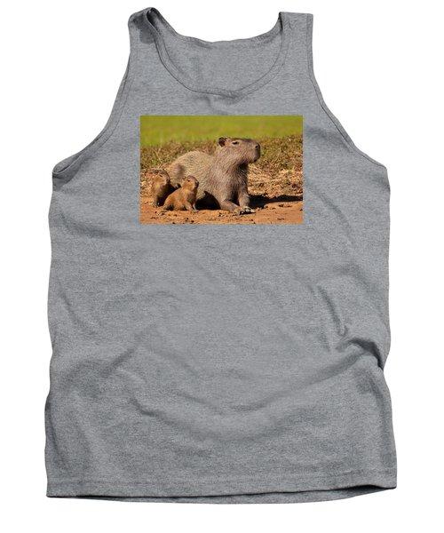 Capybara Family Enjoying Sunset Tank Top