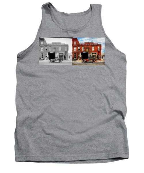Tank Top featuring the photograph Car - Garage - Misfit Garage 1922 - Side By Side by Mike Savad