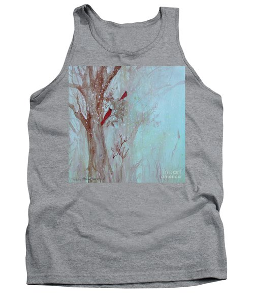 Tank Top featuring the painting Cardinals In Trees Whilst Snowing by Robin Maria Pedrero