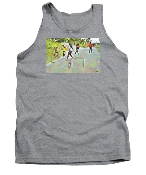 Tank Top featuring the painting Caribbean Scenes - Small Goal In De Street by Wayne Pascall