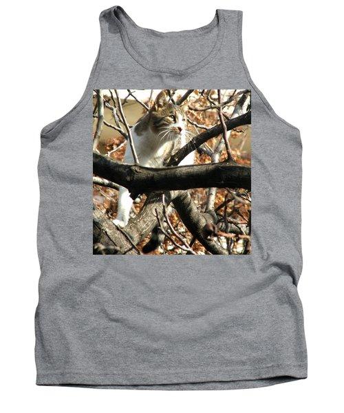 Cat Hunting Bird Tank Top