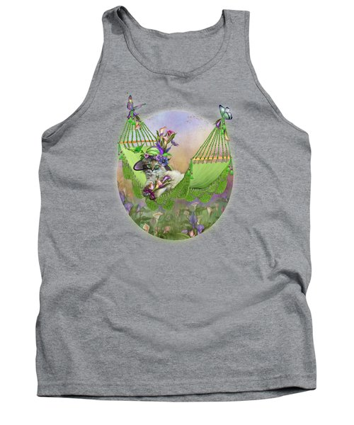 Tank Top featuring the mixed media Cat In Calla Lily Hat by Carol Cavalaris