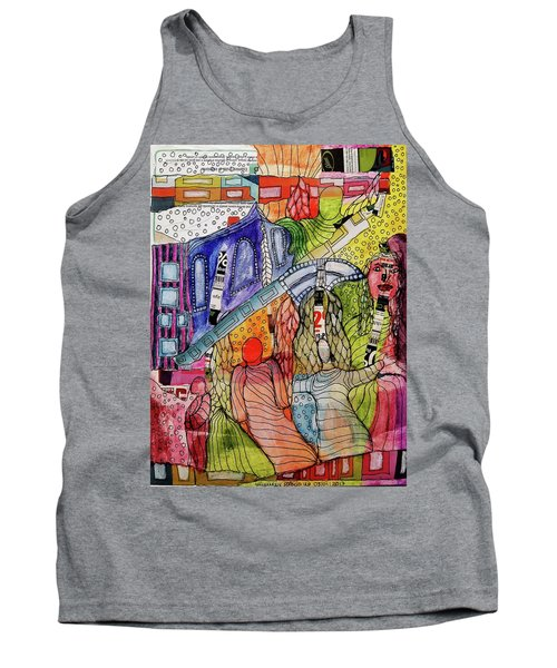 Tank Top featuring the mixed media Celestial Windows by Mimulux patricia no No