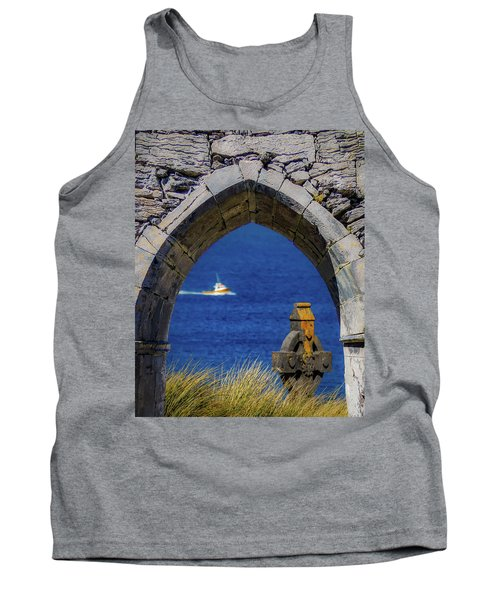 Tank Top featuring the photograph Celtic Cross And Fishing Vessel From Isle Of Inisheer by James Truett