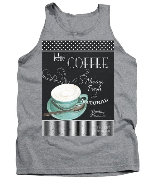 Tank Top featuring the painting Chalkboard Retro Coffee Shop 1 by Debbie DeWitt