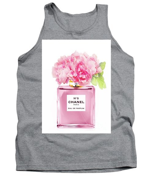 Chanel N5 Pink With Flowers Tank Top