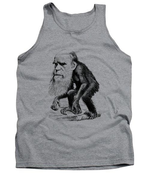 Charles Darwin As An Ape Cartoon Tank Top by War Is Hell Store