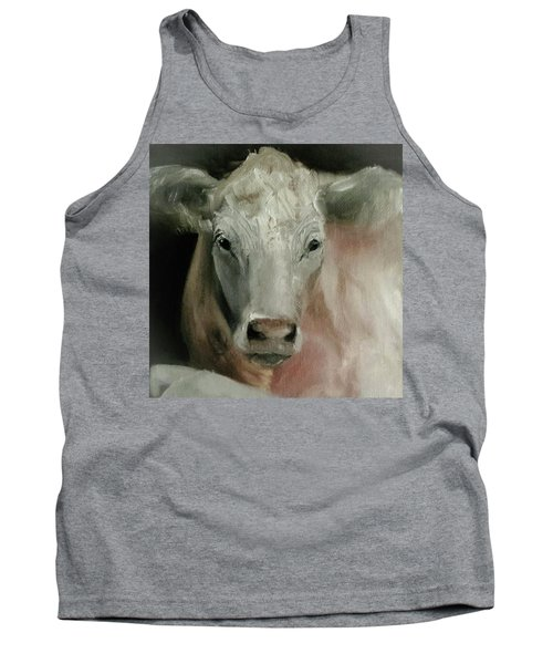 Charolais Cow Painting Tank Top by Michele Carter